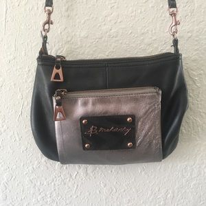 B Makowsky Black / Silver Leather Crossbody Bag